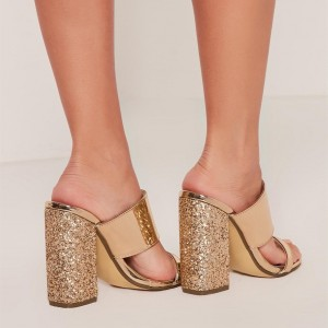Women's Golden Glitter Open Toe Chunky Heels Mules Sandals