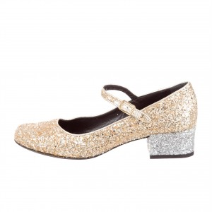Gold Glitter Block Heels Round Toe Mary Jane Pumps for Women
