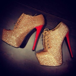 Gold Glitter Platform Lace Up Stiletto Heel Fashion Boots
