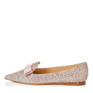 Light Pink Glitter Pointed Toe Comfortable Flats Bow Flats