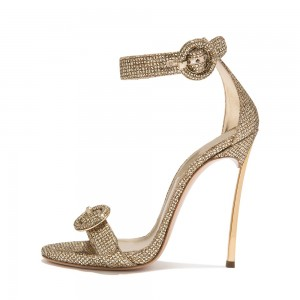 Gold Glitter Shoes Buckle Stiletto Heel Ankle Strap Sandals