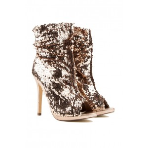 Gold Sequined Peep Toe Stiletto Heel Ankle Fashion Boots for Party