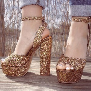 Gold Glitter Shoes Platform Ankle Strap Chunky Heel Sandals