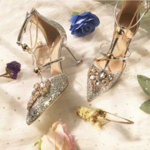 Gold Glitter Shoes Stiletto Heel Pumps with Rhinestone