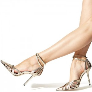 Chapmpagne Hollow Out Pointy Toe Ankle Strap Heels Pumps