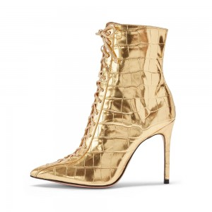 Gold Lace Up Boots Stiletto Heel Ankle Boots