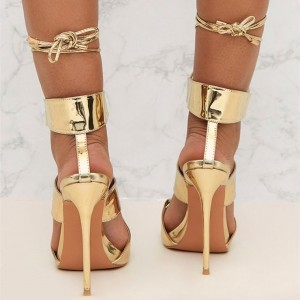 Gold Open Toe Lace Up Strappy Sandals Stiletto Heels Shoes For Party
