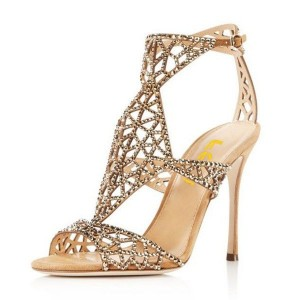 Women's Wedding Shoes Golden Rhinestone Hollow Out Bridal Sandals