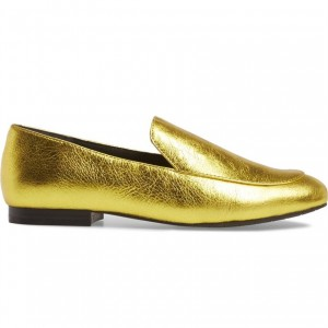 Gold Litchi Grain Almond Toe Loafers for Women