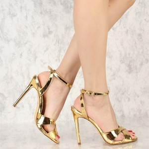 Gold Metallic Heels Open Toe Stiletto Heel Slingback Sandals