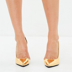 Gold Metallic Heels Pointy Toe Stiletto Heels for Women