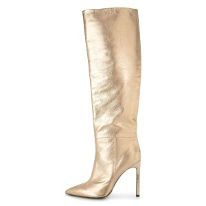 Gold Stiletto Boots Sexy Pointy Toe Knee-high Boots