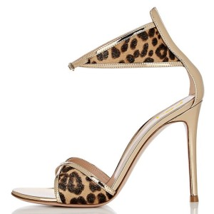 Gold Metallic Leopard Print Stiletto Heel Ankle Strap Sandals