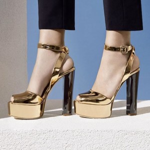 Golden Chunky Heels Platform Sandals Peep Toe Slingback Sandals