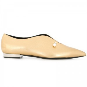 Gold Metallic Pointy Toe Flats Pearl Details Fashion Loafers for Women