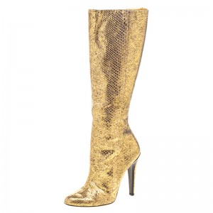 Gold Metallic Python Pencil Heels Long Boots Sexy Knee-high Boots