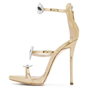 Gold Metallic Rhinestones Lips Tri Straps Ankle Strap Sandals
