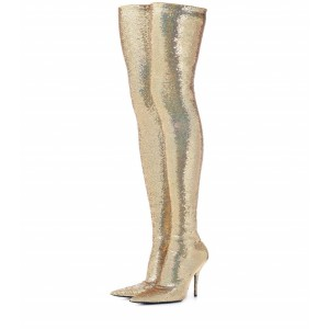 Gold Sequin Boots Pointy Toe Thigh High Party Long Boots