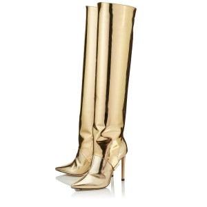 Gold Metallic Stiletto Boots Sexy Pointy Toe Knee-high Boots