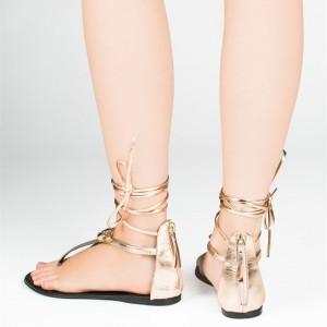 Gold Metallic Strappy Sandals Comfortable Flats