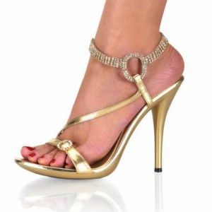Gold Rhinestone Wedding Shoes Stilettos Slingback Ankle Strap Sandals
