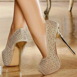 Gold Platform Heels Peep Toe Studded Pumps High Heel Shoes