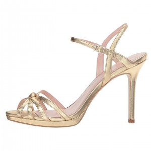 Gold Platform Tie Stiletto Heels Sandals