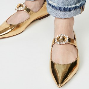 Gold Pointed Toe Mary Jane Shoes Buckle Flats