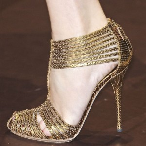 Gold Python T Strap Heels Stiletto Heel Sandals
