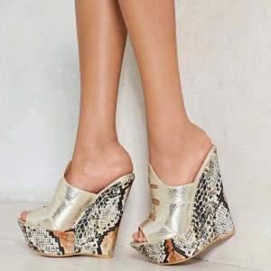 Gold Python Peep Toe Mule Fashion Wedge Sandals