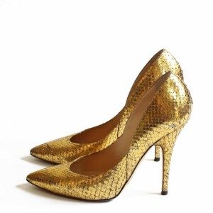 Gold Python Stiletto Heels Pointy Toe Pumps