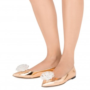 Gold Rhinestone Pointy Toe Flats Comfortable Shoes