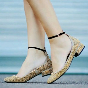 Gold Rivets Khaki Round Toe Flats Ankle Strap Studs Shoes