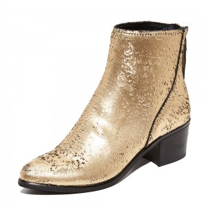 Gold Round Toe Block Heel Boots Sequined Ankle Booties with Zipper