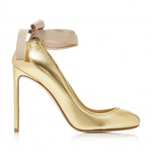 Gold Round Toe Stiletto Heels Sexy High Heel Strappy Pumps