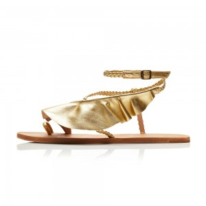 Gold Ruffle Greek sandals Flat Summer Sandals