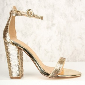 Gold Sequined Open Toe Chunky Heels Sandals Prom Shoes