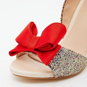 Gold Sequined Red Bow Stiletto Heels Glitter Shoes
