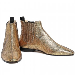 Gold Sparkly Fashion Boots Comfortable Flats Ankle Booties