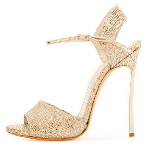 Gold Sparkly Stiletto Heel Dress Sandals