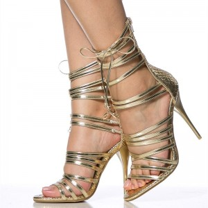 Gold Strappy Evening Shoes Open Toe Stiletto Heel Sandals