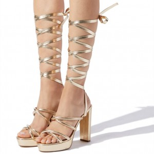 Gold Strappy Heels Platform Chunky Heel Sandals