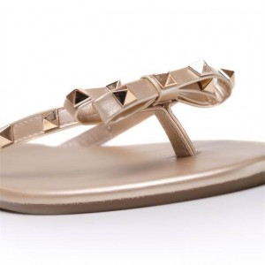Gold Studded Summer Sandals Bow Open Toe Flats US Size 3-15