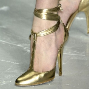 Gold T Strap Pumps Closed Stiletto Heels Strappy Pumps