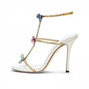 Gold Tri Straps Bows Stiletto Heel Ankle Strap Sandals
