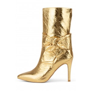 Gold Bow Stiletto Boots Pointed Toe Mid Calf Boots