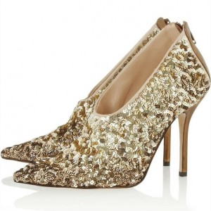 Golden Fashion Boots Sequined Stiletto Heels Pointed Toe Ankle Booties