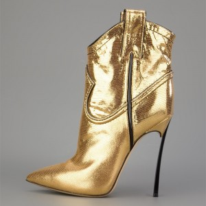 Golden Lizardstripe Stiletto Heel Boots Pointy Toe Ankle Booties