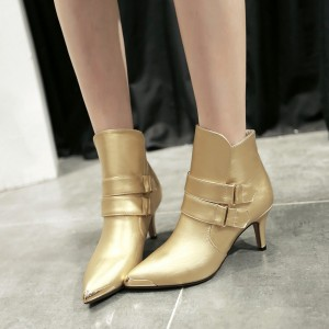 Golden Patent Leather Fashion Boots Pointy Toe Kitten Heel Ankle Boots