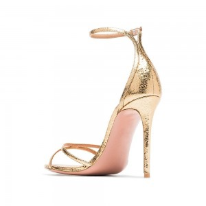 Golden Open Toe Stiletto Heel Ankle Strap Sandals